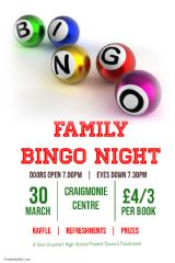 PTA Family Bingo Night March 30th 2019
