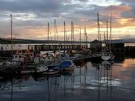 Cromarty harbour filled with boats