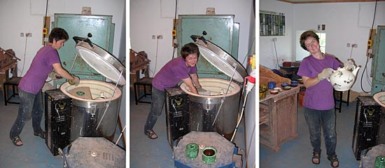 barbel unpacking one of her pottery kilns