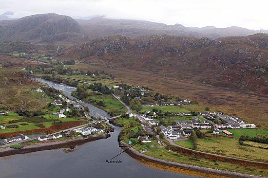 an aerial view of waterside