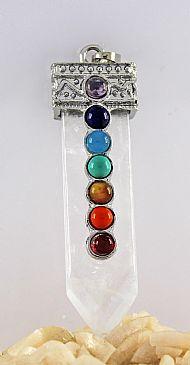 Clear Quartz Gemstone Chakra Pendant