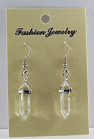 Clear Quartz Gemstone Bi-Point Earrings