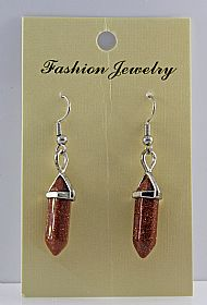 Goldstone Gemstone Bi-Point Earrings