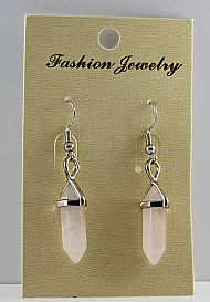 Rose Quartz Gemstone Bi-Point Earrings