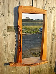 Tall beech mirror with shelf