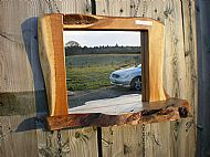 Oak mirror with shelf
