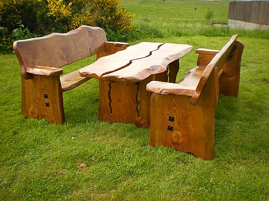 farmhouse furniture -rustic scottish garden table and benches