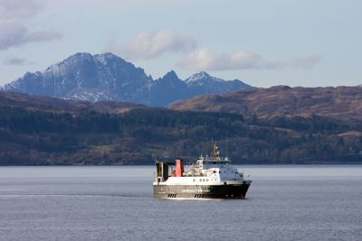 the mv loch nevis operates the ferry service mallaig to armadale during the winter