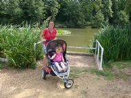 indre and daughter saule enjoying a stroll around the loch
