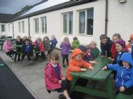 Primary 1 out having a snack