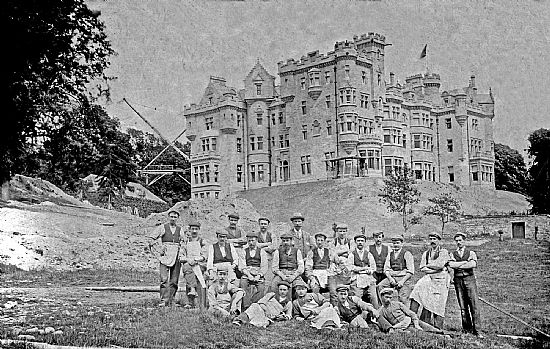 construction workers at skibo castle - around 1900