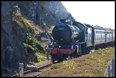 the jacobite steam train 'the great marquess' approaching mallaig