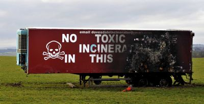 dovesdale incinerator - torched 'no toxic waste incinerator in this location' campaign lorry