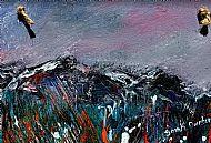 Original Abstract Mountains - Winter Plaque
