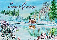 A5 Winter at the Boat House Card