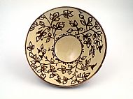 Medium white and terracotta flora and fauna bowl