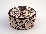 Flora and fauna lidded casserole - white and terracotta