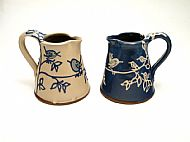 Birds jug, medium straight, cobalt and cream