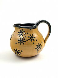 Flower jug, medium, belly, honey and navy
