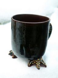 Black straight bird feet mug