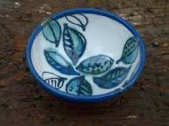 Blue, white and green leafy bowl