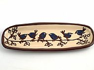 Oblong bread plate - birds