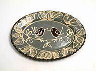 Oval platter -bird pair