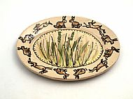 Oval platter - hares and meadow