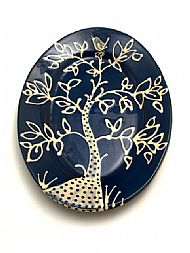 Oval platter -bird in tree top