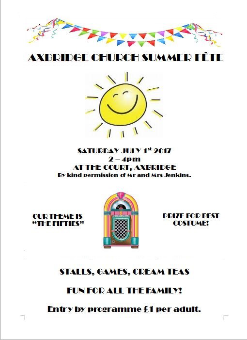 church fete - july 1st at 2pm - the cout, axbridge