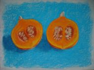 Pumpkin on turquoise - fruit pastel