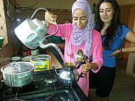 Making Moroccan mint tea