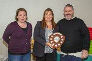 Angie Scott and Russ Greig being presented with the Community Project Award on behalf on Friends of Eastwood Park