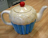 a cupcake teapot decorated using kemper tools to do the hundreds and thousands. cost �28