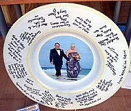a sigen wedding dish with wedding photo added after the wedding party. cost �120