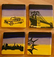 new york scene set of coasters. cost �28