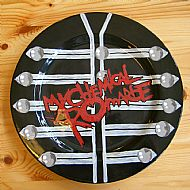 i got the inspiration for the background of this mcr plate from the bands video for 'black parade'. cost �22