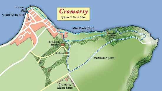 cromarty splash and dash - mad and mini dash routes