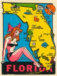 State Map with Bathing Beauty
