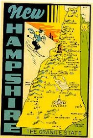 State Map Granite State, Girl Skiing, turquoise lettering