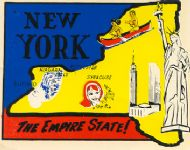 State Map Empire State, Statue of Liberty
