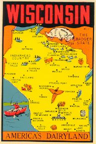 State Map Americas Dairyland, orange background