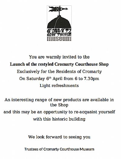 poster for opening of courthouse shop
