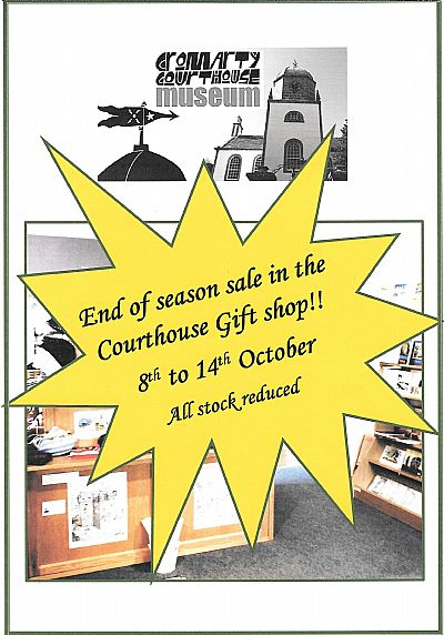 courthouse museum shop sale 8 - 14 october
