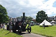 Steam engine on the village green, from Creaton in Bloom 2014