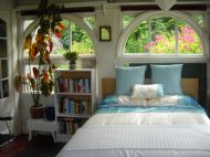 The bed in the main room