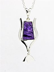Charoite and Sterling Silver Art Deco pendant