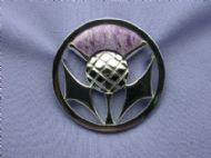 Sterling Silver and Charoite, Scottish Thistle Brooch