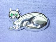 Sterling Silver and Emerald Cat Brooch