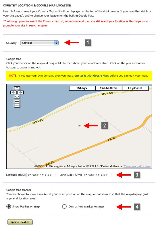 spanglefish - location map settings